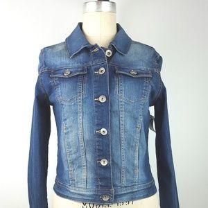 KENSIE Denim Jacket Crop Dark Wash Distressed Sz S